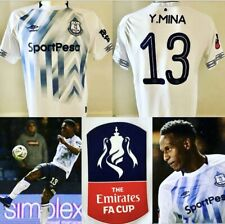 Yerry Mina MATCH WORN 2018/19 Everton FA CUP Away Shirt *COA* Colombia RARE