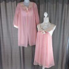 Vtg 60s Gotham Lingerie S Peach Nylon Satin Babydoll Peignoir Nightie Robe Set