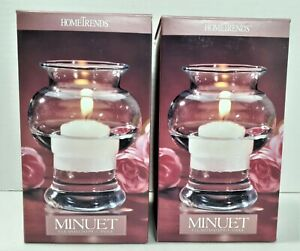 """Set of 2 NEW Minuets Clear Glass Floating Candle Holders 4.5"""" Hometrends 321"""