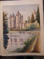 Aquarelle Château par Robert Louisnard 1942
