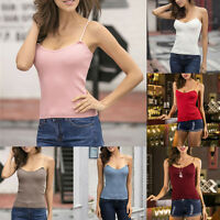 Womens Cami Tank Sleeveless Knit Cotton Vest Strappy T-Shirt Tops Blouse Plain