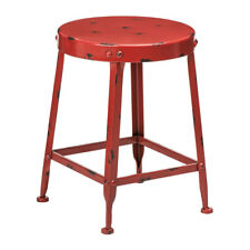 Artisan Distressed Red Bar Stool Metal Industrial Café Breakfast Kitchen Chair
