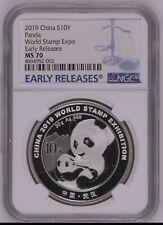 NGC MS70 2019 Silver panda coin 30gram World Stamp Expo COA