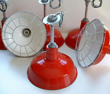 "(ONE) Red 14"" Vintage Industrial Abolite Barn Light Gas Station Porcelain Enamel"