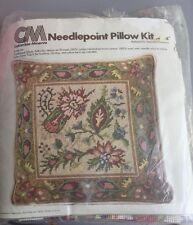"Needlepoint Floral Flowers Pillow Kit 1976 Kit 2460 Columbia Minerva 14"" x 14"""