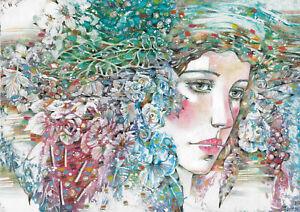 original drawing A3 132RM art samovar modern female portrait Mixed Media floral