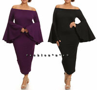 Plus Size Off Shoulder Long Bell Sleeve Bodycon Midi Dress