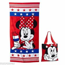 Disney Jumping Beans Minnie Mouse 2 pc Beach Towel 28x58 & Tote 13x13 Set Nwt