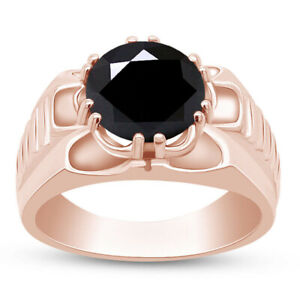 7CT Round Black Simulated Diamond Solitaire Men's Ring 14K Rose Gold Over Silver