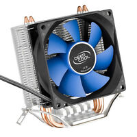 80mm 8cm CPU Fan Aluminum Fins Heatsink Dual Copper Pipe Silent Cooler Socket