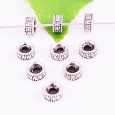 50pcs Tibet Silver Round Ring Charm Spacer Charms Beads Jewelry Finding 6x3mm