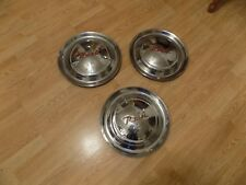 """1952-1955 Nash 15"""" Inch Set Of 3 Stainless Steel Hubcaps Original Wheel Covers"""