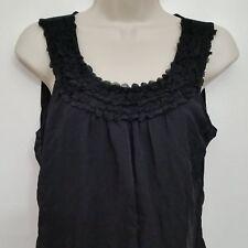 Cable Gauge Womens Top Large Black Embellished Sleevless Layered Split Front