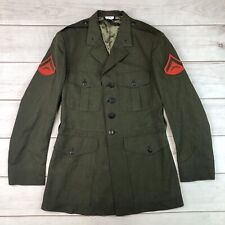Crown USA Men's 44 XL Army Green Wool Military Marines Service Jacket Coat DSCP