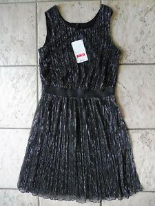 LAURA TORELLI Lurex KLEID S, Organza Cocktailkleid Plissee schwarz silber 36 38