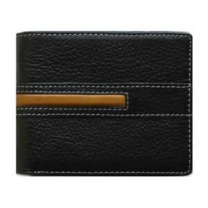 Classic Bi-Fold Black Genuine Leather Wallet ID Credit Card Holder VIVALDI