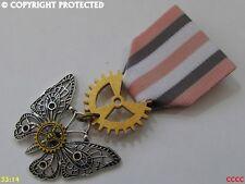 Steampunk badge brooch pin drape Medal silver butterfly cog gearwheel