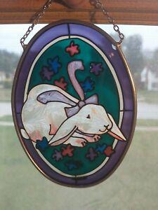Vintage Joan Baker Suncatcher Stained Glass Window Art Hand Painted Bunny Rabbit
