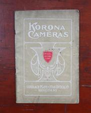 GUNDLACH-MANHATTAN OPTICAL KORONA CAMERAS CATALOG, 1909, 52 PAGES/194567