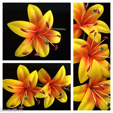 Hawaiian Foam Lily Flower PinUp Girl Wedding Hair Pick Yellow w/ Red Center Prom