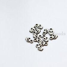 120pcs Antique Brass Base Metal Charms-Skull 8.5x5mm (17676Y-O-284)