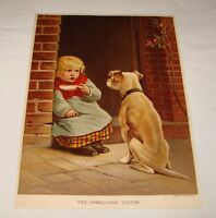 1887 lithograph ~ UNWELCOME VISITOR Child And Dog