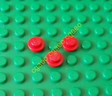 3 X  Lego 4073 Plate, Round 1 x 1 Straight Side (red)