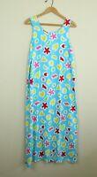 "Vintage Dee Dees Rayon Sleeveless Dress Beach Tropical Blue Print 80s M 38"" ch"