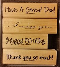 Stampin' Up VOGUE VERSES Set of 4 Wood Mounted Rubber Stamps Lot Birthday