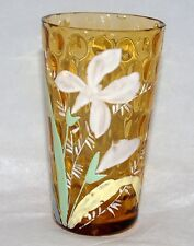 ANTIQUE VICTORIAN ART GLASS TUMBLER ENAMEL PAINT IVT INVERTED THUMBPRINT YELLOW