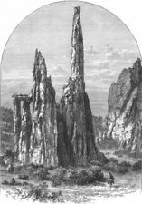 ILLINOIS. The Cathedral Spires in the Garden of the Gods 1891 old print