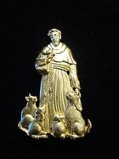 """JJ"" Jonette Jewelry Gold Pewter 'St. Francis of Assisi' Animal Pin"