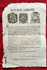 GG97-STATO PONTIFICIO, DOGANE PER LA FIERA DI SENIGALLIA, 1820