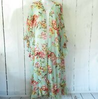 New Umgee Duster Kimono Cardigan M Medium Mint Green Floral Ruffle Boho Prairie