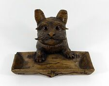 Hand Carved Black Forest Inkwell & Pen Tray, Terrier Dog Head, Glass Eyes, c1880
