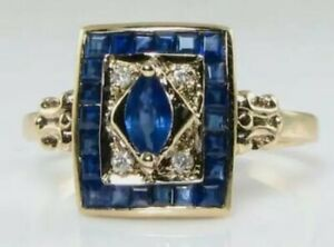 CLASS SOLID 9K 9CT GOLD BLUE SAPPHIRE & DIAMOND ART DECO ENGAGEMENT RING