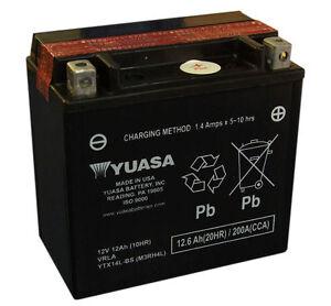 Genuine Yuasa YTX14L-BS, 12V 12AH Motorbike Motorcycle Battery Inc Filling Kit