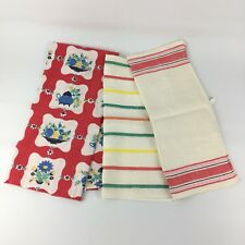 Lot Of 3 VTG Linen Kitchen Towels Red Green Blue Fiesta Floral 40s 50s Striped