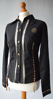 Ladies Roberto Cavalli Black Shirt Blouse Top Size L UK 12
