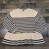 Talbot Womens White Blue Striped Shirt Blouse Size 2XL Long Sleeve