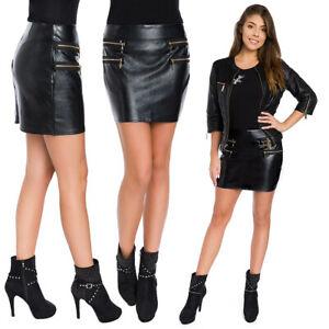 Womens Eco Leather Party Thick Warm Mini Skirt Zippers Fleece Lined Winter FS108