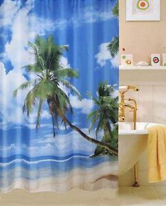 Tropical Beach FABRIC SHOWER CURTAIN,