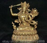 """15,6""""Vieille Chine Bronze Cuivre Doré Wenshu Manjushri Sagesse Épée Fleur Statue"""