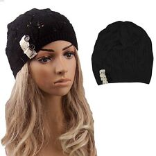 Fashion Women Winter Warm Beret Braided Baggy Knit Crochet Beanie Hat Ski Cap #w