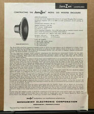 Vtg JansZen Model 350 Woofer Enclosure Construction Instructions Speaker