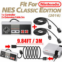 for Nintendo NES Mini Classic Edition Game Controller+2 PCS 10Ft Extension Cable