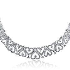 4 Quilate Original Collar de Diamantes Graduado Eslabones Corazones 14k
