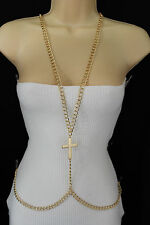 Women Gold Metal Body Chains Fashion Jewelry Harness long Necklace Cross Charm