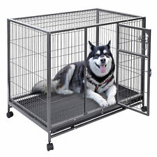 44 Inch Heavy Duty Large Metal Dog Crate Tray Dog Cage Portable Travel Kennel