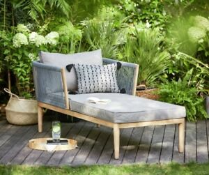 Pascal Chaise Rattan Effect Sun Lounger, Day Bed - Garden Sofa Patio Padded Wood